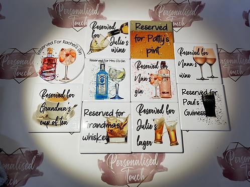 Personalised alcoholic drinks coasters