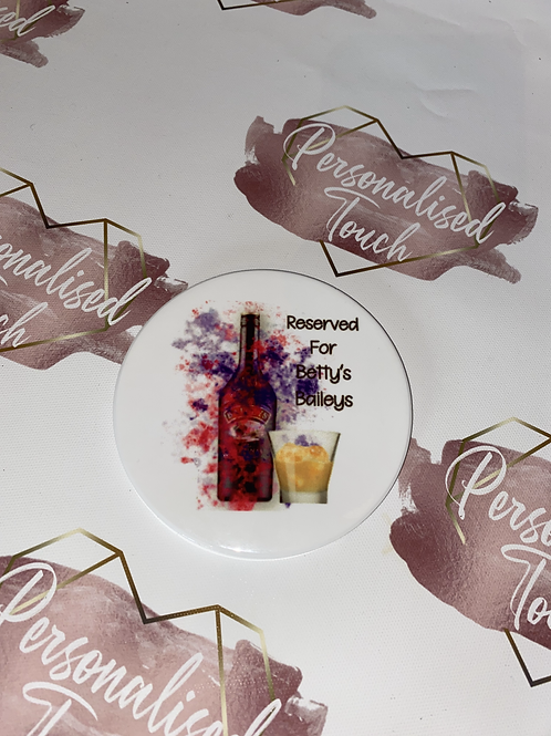 Square Personalised Baileys drinks ceramic coaster