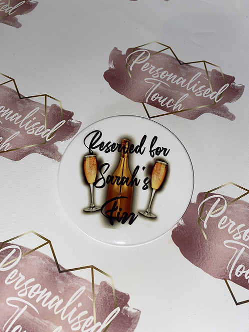 Personalised Fizz ceramic drinks coaster