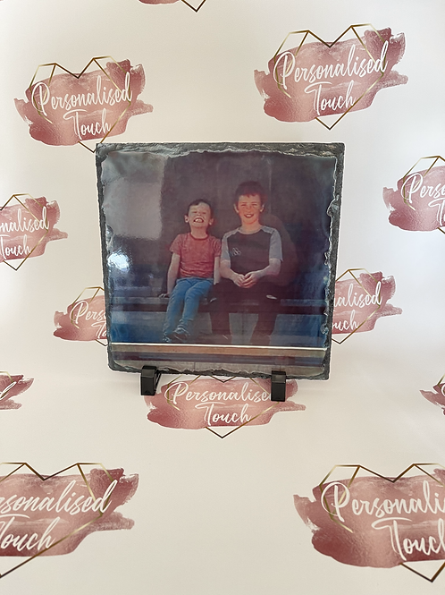 Personalised rock slate photo with stand