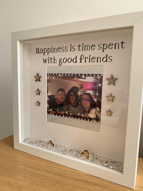 Happiness is time spent with good friends personalised frame