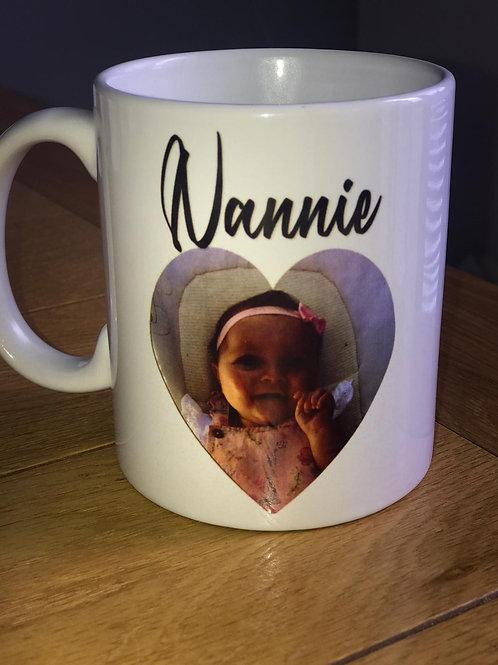 Personalised heart photo mug