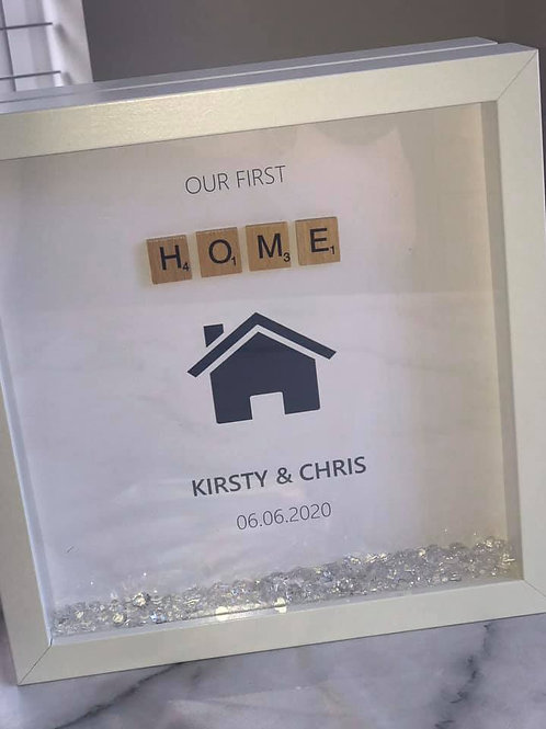 Our first home personalised box frame