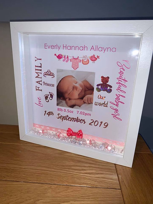 New arrival baby girl personalised box frame