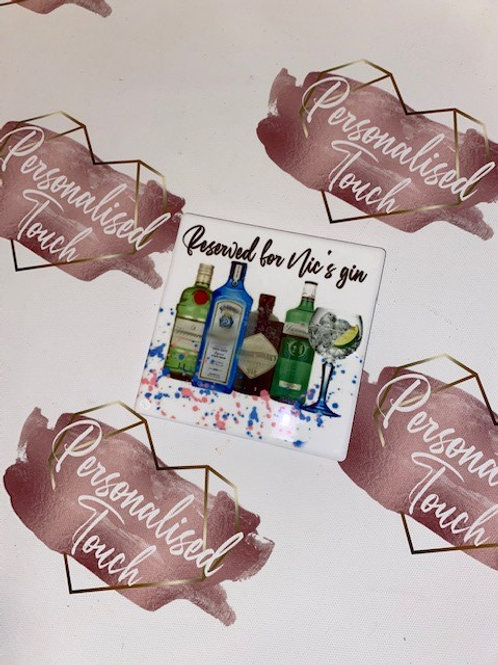 Gin collection personalised coaster