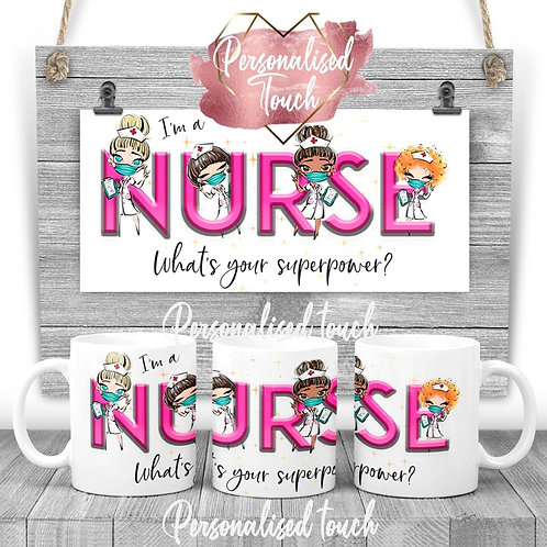 Personalised Nurse Superpower mug