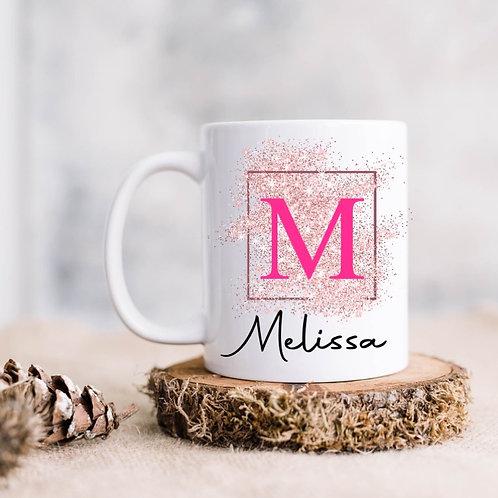 Personalised glitter initial and name mug