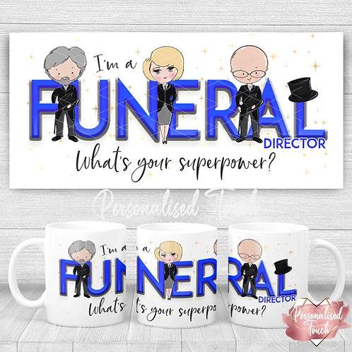 Personalised Funeral Director Superpower mug