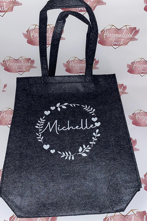 Personalised felt tote shopper bag