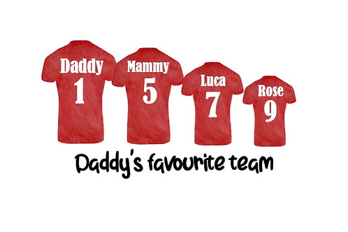Personalised Daddy's favourite team print