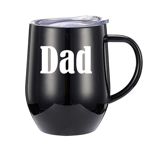 Personalised stainless steel mug with handle