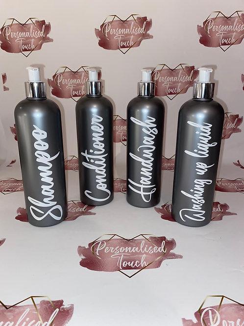 Stunning personalised grey pump bottles