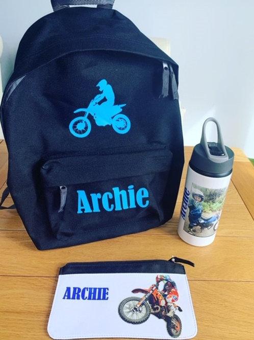 Personalised Back to school bundle - Motorbike design