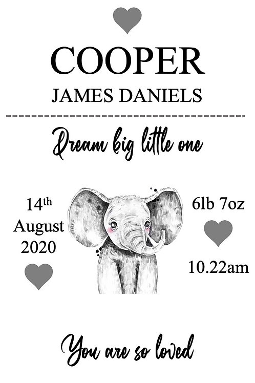 Personalised Elephant new baby print