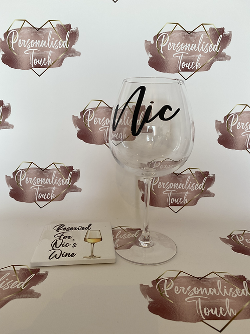 Personalised Wine glass  and Coaster Offer