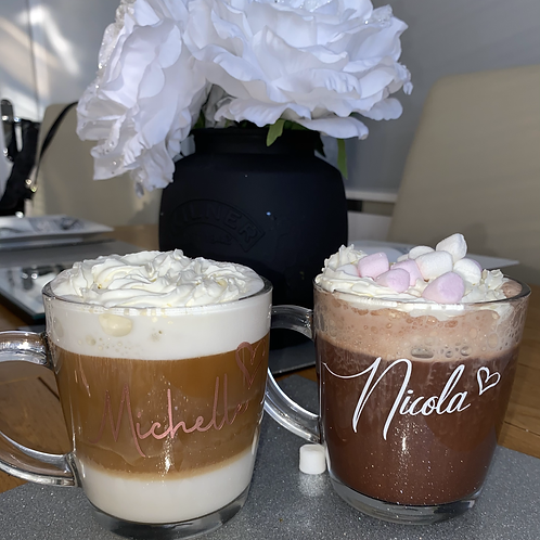 Personalised glass coffee cup