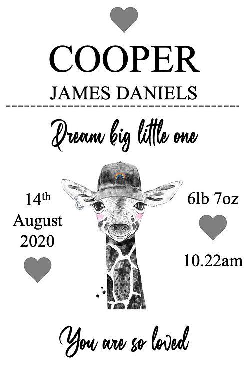 Personalised Giraffe new baby print