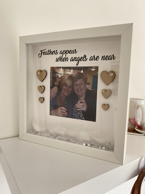 Feathers appear when angels are near personalised photo memorial frame
