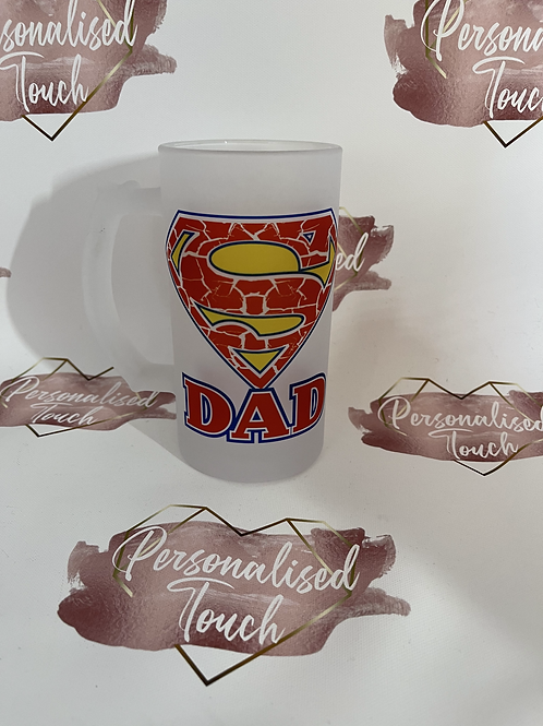 Personalised frosted glass beer stein