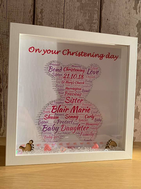 Personalised Teddy Bear Christening Frame