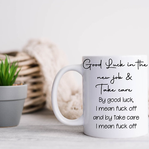 Personalised good luck in the new job mug