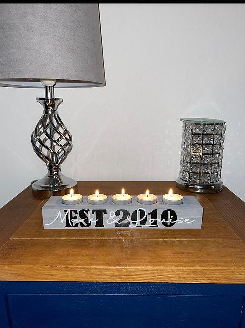 Personalised solid wood tea light holder