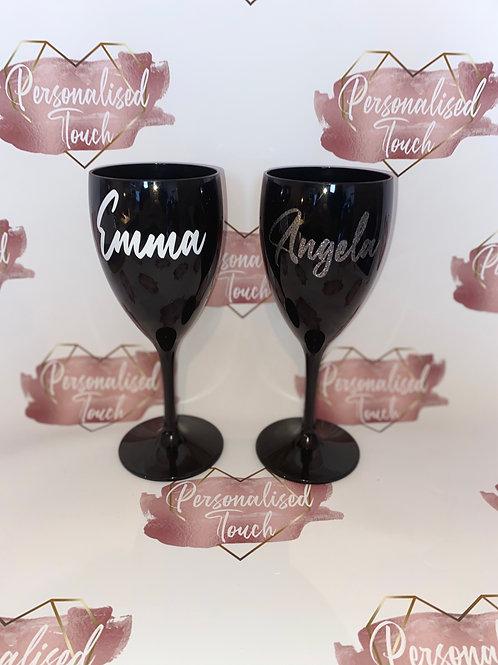 Personalised Black Wine Glass