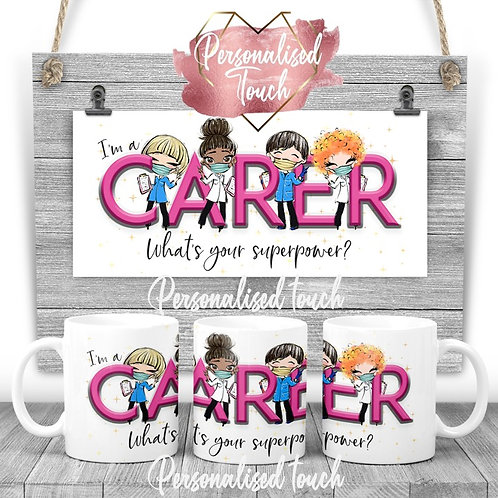 Personalised Carer  Superpower mug