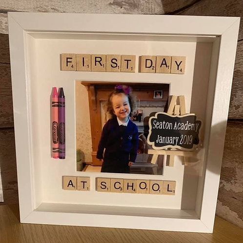 First day back at school personalised box frame