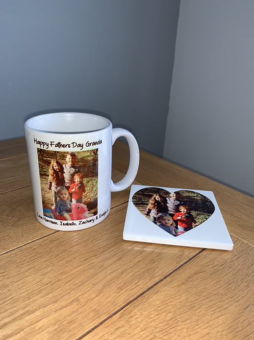 Personalised photo mug and coaster set