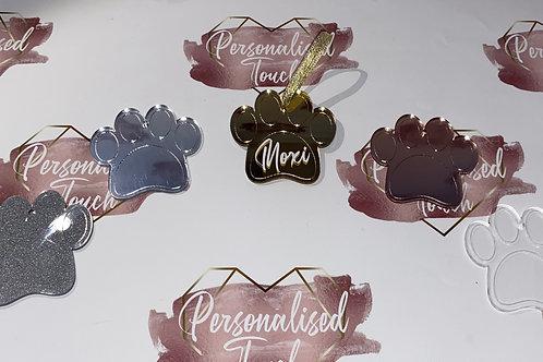 Personalised acrylic pet paw Christmas decoration