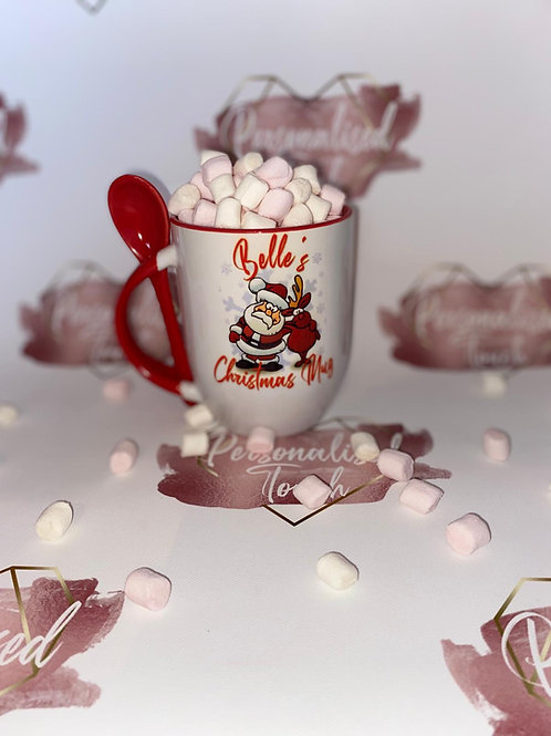 Personalised black Christmas mug with spoon