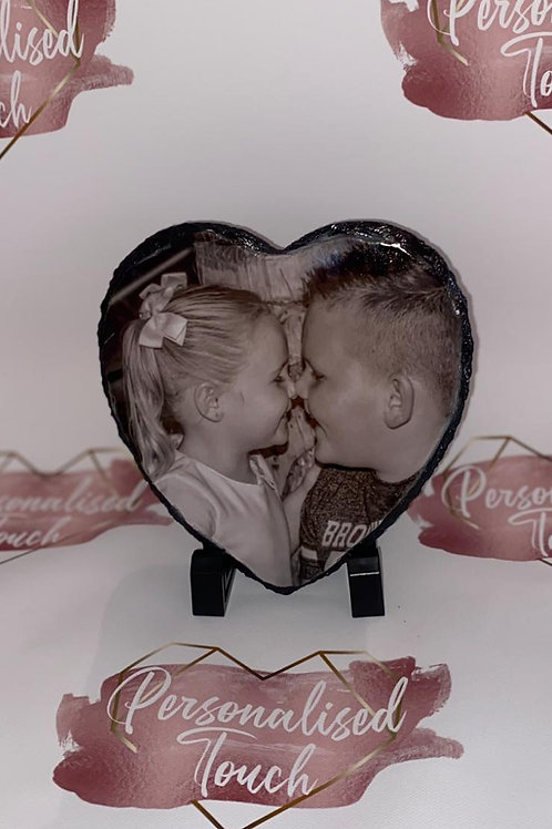 Personalised heart rock slate photo with stand