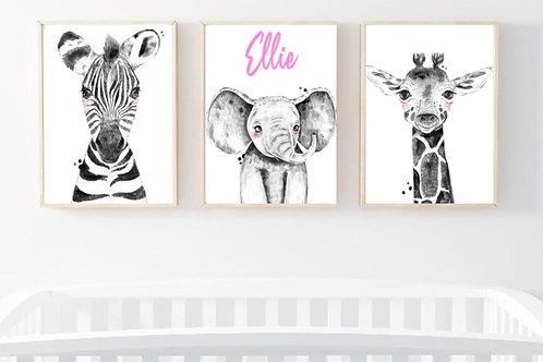 Personalised trio of safari babies print