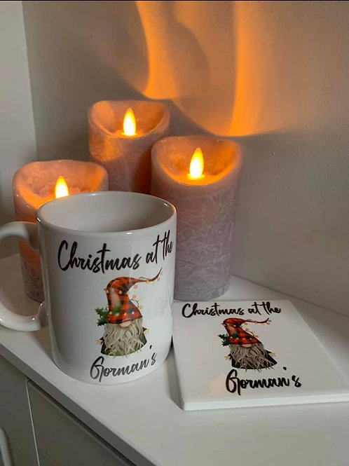 Personalised Christmas Mug & Coaster Set