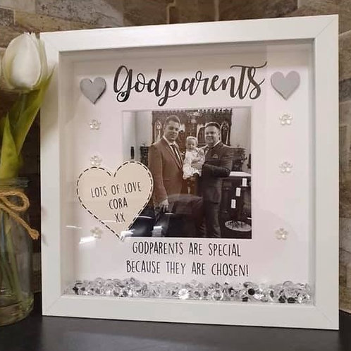 Godparents personalised box frame