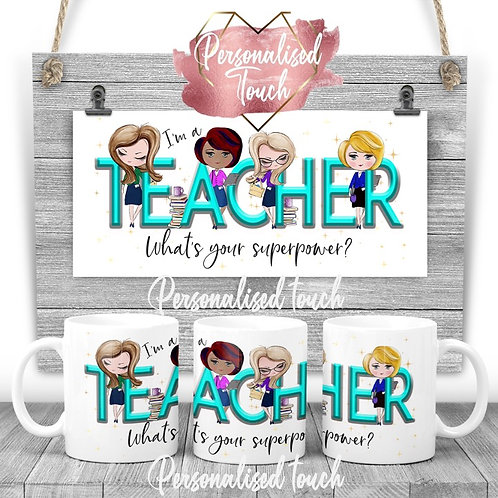 Personalised Teacher  Superpower mug
