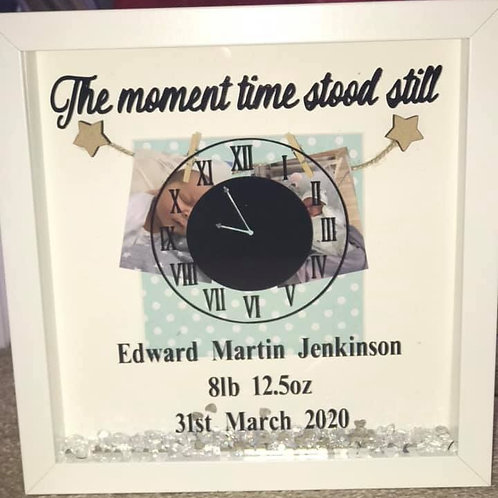 Time stood still personalised new baby frame