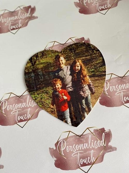 Heart shaped personalised photo jigsaw
