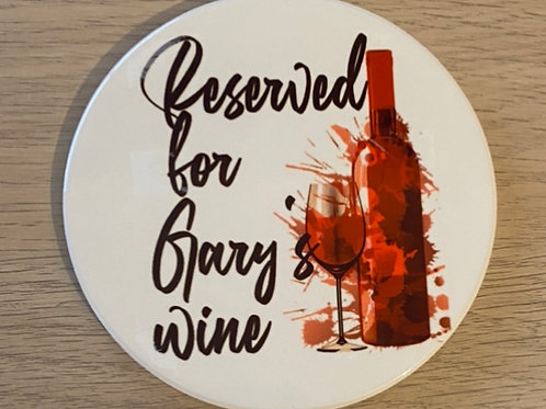 Square Personalised red wine ceramic coaster