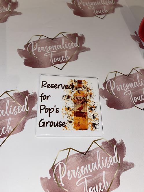 Personalised ceramic whiskey coaster