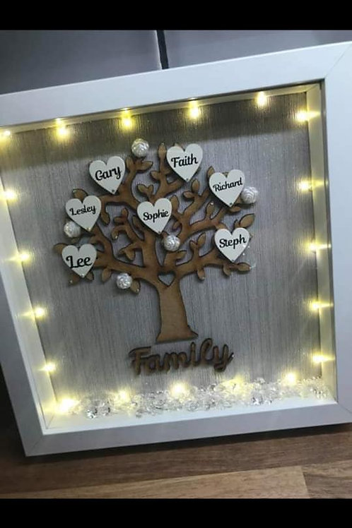 Personalised Family Tree Box Frame with lights
