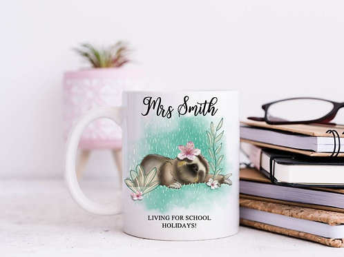 Living for the school holidays personalised mug