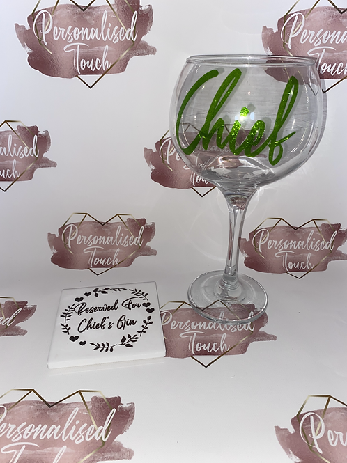 Personalised Gin glass and coaster offer