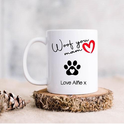 Personalised 'Woof you mam/mum/dad' pet mug