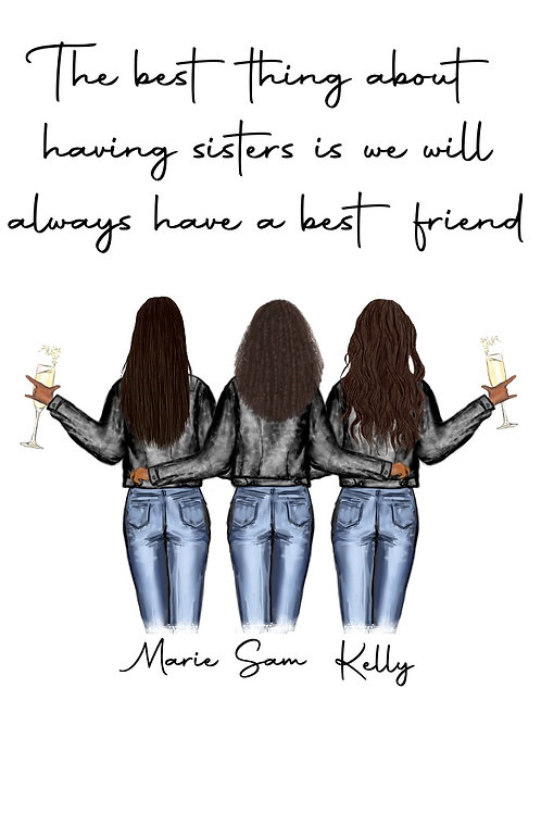 Sister and best friend personalised print