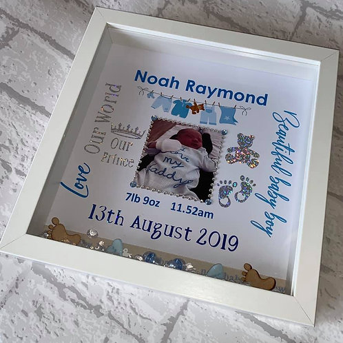 New arrival baby boy personalised box frame