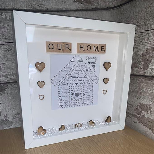 Our Home personalised box frame