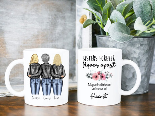 Sisters forever personalised mug