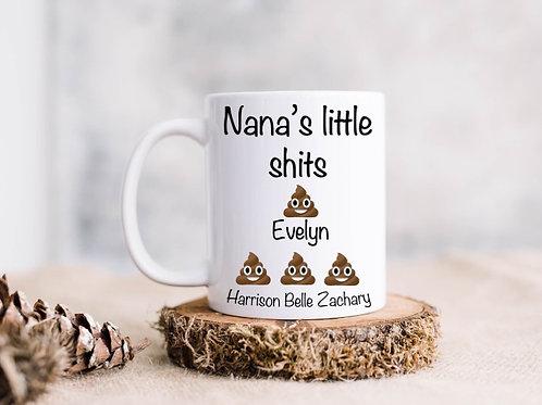 Nana's/granda's little shits personalised mug